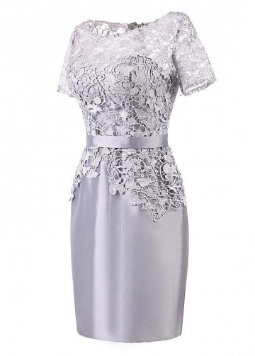 Popular Lace & Taffeta Bateau Neckline Short Sleeves Sheath/Column Mother Of The Bride Dresses With Belt