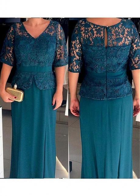 Glamorous Lace & Chiffon V-neck Neckline Sheath/Column Mother Of The Bride Dress