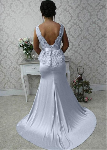 Attractive Lace & Stretch Satin Bateau Neckline Full-length Mermaid Bridesmaid Dress With Belt