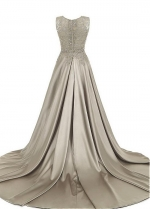 Unique Tulle & Satin Scoop Neckline Floor-length A-line Mother Of The Bride Dresses With Beaded Lace Appliques