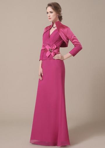 Elegant Chiffon V-neck Neckline Full-length A-line Mother of The Bride Dresses