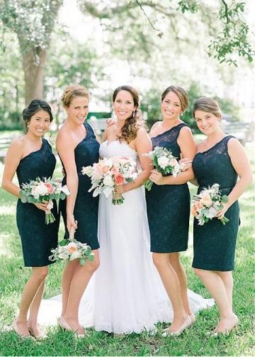 Fantastic Lace One Shoulder Neckline Knee-length Sheath/Column Bridesmaid Dress With Belt