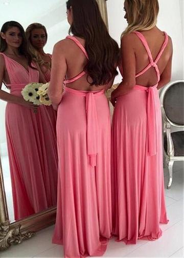 Marvelous Chiffon V-neck Neckline Floor-length A-line Bridesmaid Dresses