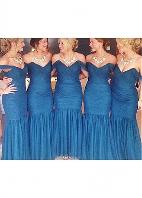 Marvelous Tulle Off-the-shoulder Neckline Mermaid Bridesmaid Dress With Pleats