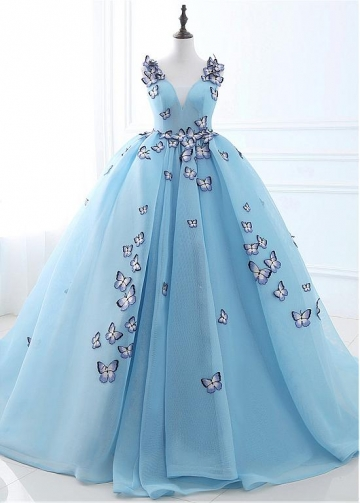 Fashion Tulle V-neck Neckline Ball Gown Prom Dresses With Embroidery Butterflies