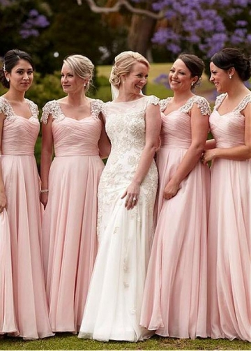Sweet Chiffon Sweetheart Neckline Floor-length A-line Bridesmaid Dress With Beaded Lace Appliques & Pleats