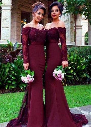 Sexy Tulle & Acetate Satin Off-the-shoulder Neckline Mermaid Bridesmaid Dresses With Long Sleeves