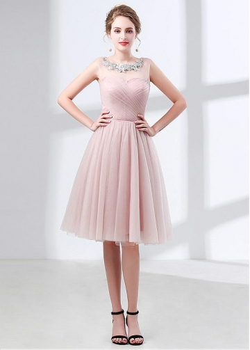 Charming Tulle Jewel Neckline Knee-length A-line Bridesmaid Dress With Beadings