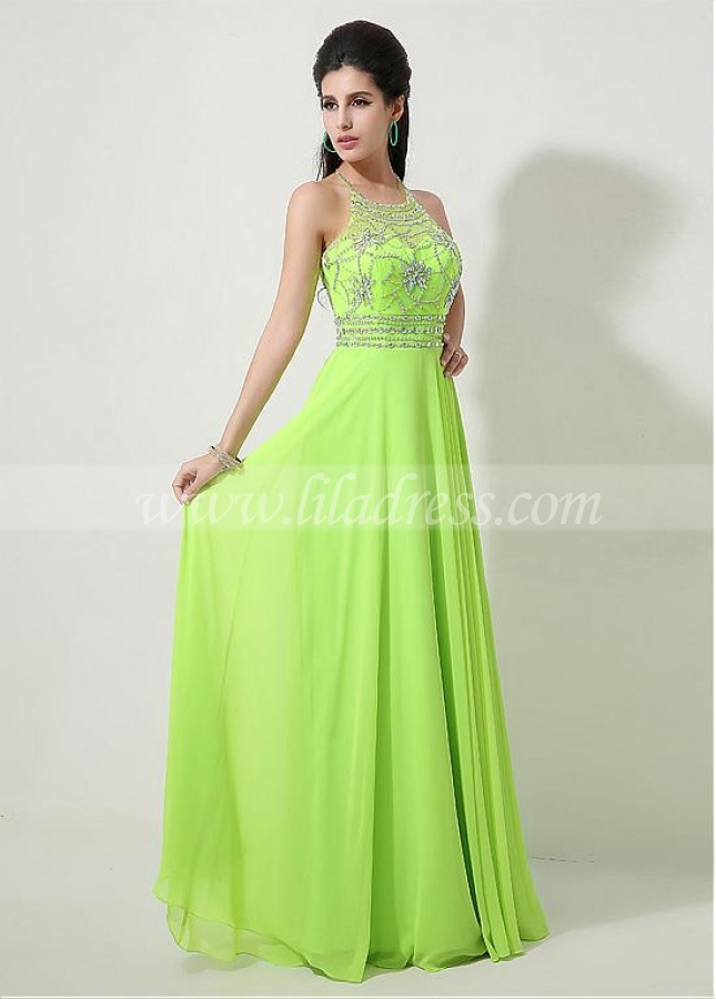 Fabulous Chiffon Halter Neckline A-line Prom Dresses With Beadings & Rhinestones