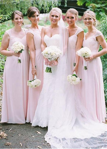 Modest Lace & Chiffon V-neck Neckline Full-length A-line Bridesmaid Dress