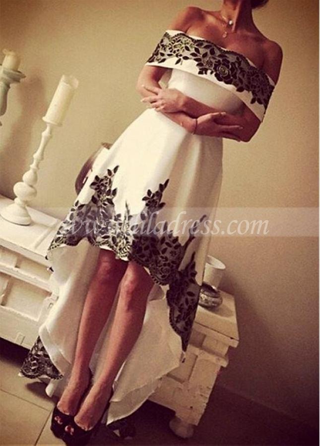 Modern Satin Off-the-shoulder Neckline Hi-lo A-line Prom Dresses With Lace Appliques