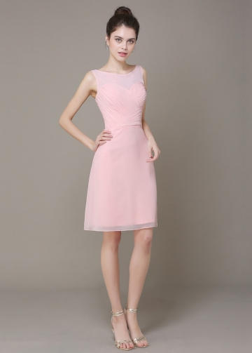 Elegant Chiffon Sheath Bateau Neckline Short Bridesmaid Dress