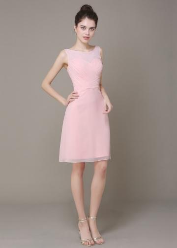 Elegant Chiffon Sheath Bateau Neckline Short Bridesmaid Dress