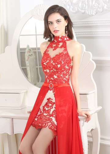 Elegant High Collar Neckline Sheath Cocktail Dresses
