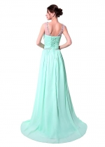 Charming Chiffon Scoop Neckline A-Line Prom Dresses With Beadings