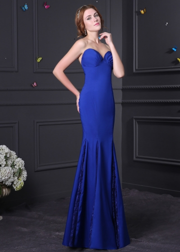 Chic Strech Charmeuse & Lace Sweetheart Neck Mermaid Prom Dresses