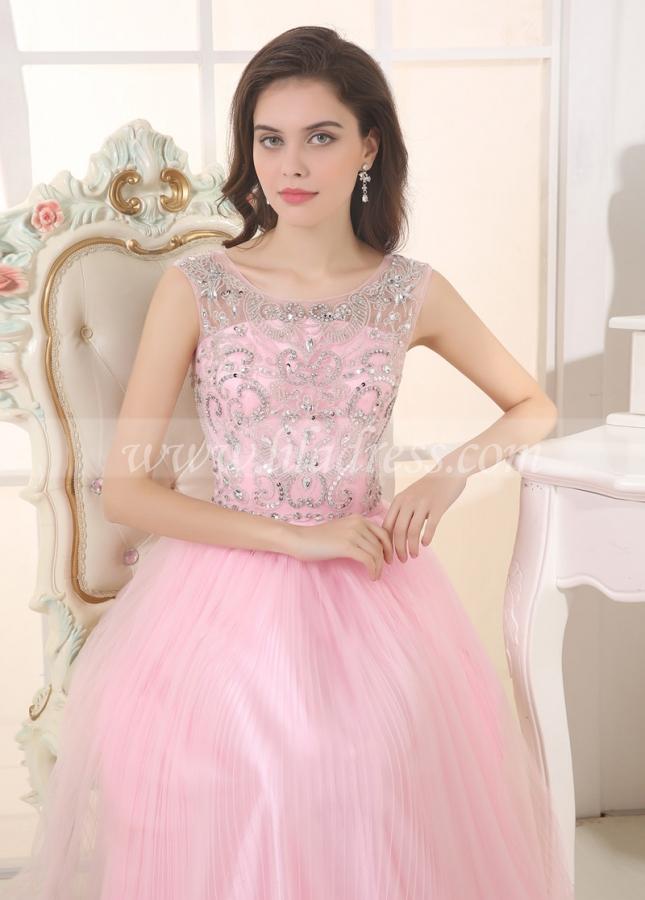 Elegant Tulle & Stretch Satin Bateau Neckline A-Line Prom Dresses