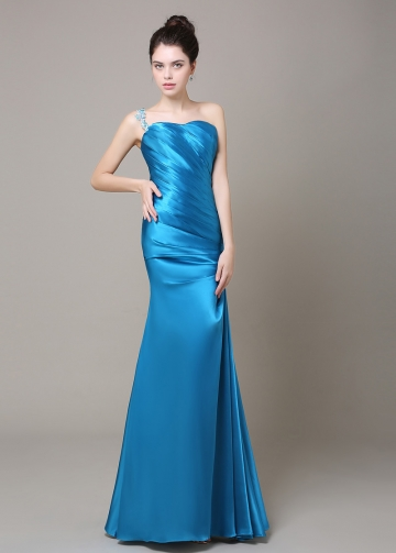 Alluring Stretch Charmeuse One Shoulder Neckline Mermaid Prom Dresses