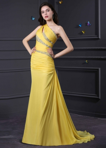Gorgeous Silk Like Chiffon & Stretch Satin One Shoulder Neckline Mermaid Prom Dresses