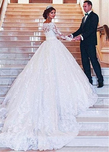 Attractive Tulle Off-the-shoulder Neckline Ball Gown Wedding Dress With Lace Appliques & Belt