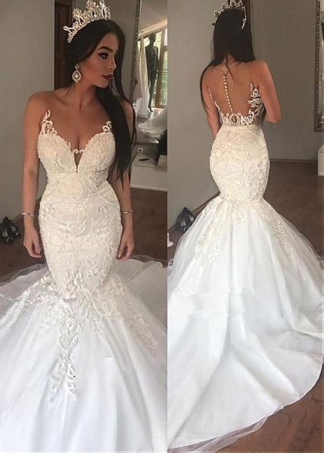 Fascinating Tulle Sheer Jewel Neckline Mermaid Wedding Dress With Lace Appliques & Beadings