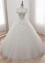 Glamorous Tulle Off-the-shoulder Neckline Ball Gown Wedding Dress With Lace Appliques & Beadings