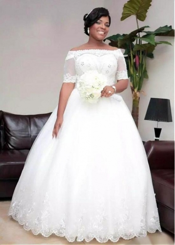 Fabulous Tulle Off-the-shoulder Neckline Plus Size Ball Gown Wedding Dress With Beadings & Lace Appliques