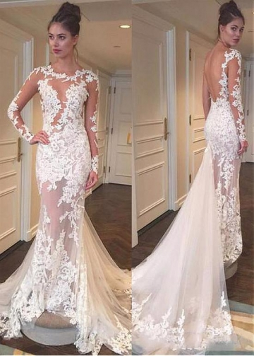 Attractive Tulle Jewel Neckline See-through Mermaid Wedding Dresses With Lace Appliques & Detachable Train