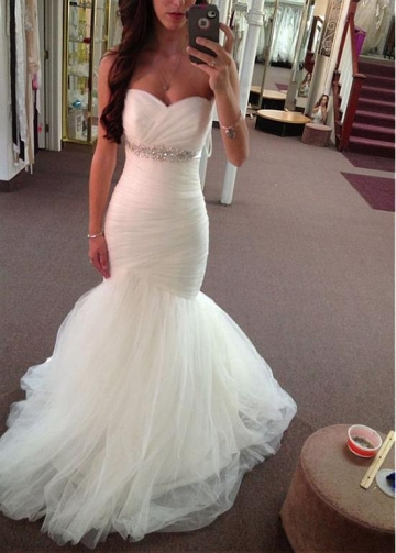 Delicate Tulle Sweetheart Neckline Mermaid Wedding Dress With Belt