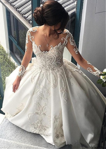 Attractive Tulle & Satin Sheer Jewel Neckline A-Line Wedding Dresses With Beaded Lace Appliques