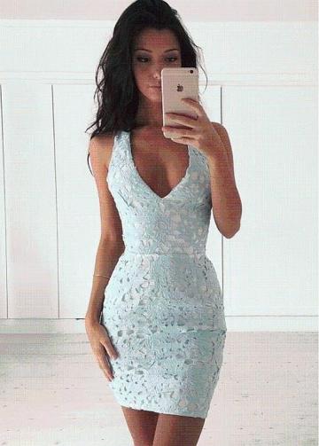 Sexy Lace V-neck Neckline Mini-length Sheath/Column Cocktail Dresses