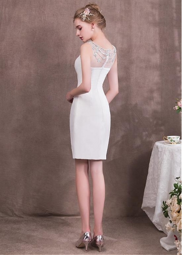 Formal Tulle & Four Way Spandex Bateau Neckline Sheath/Column Homecoming Dresses With Beadings