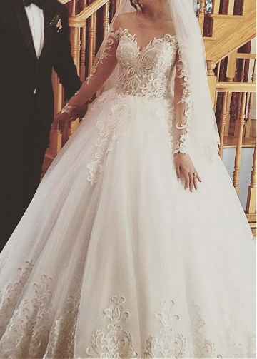 Eye-catching Tulle Jewel Neckline Ball Gown Wedding Dresses With Beaded Lace Appliques