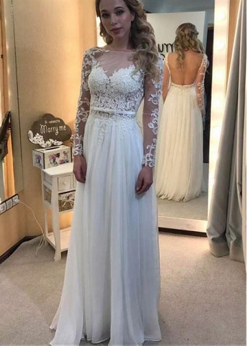 Winsome Chiffon Bateau Neckline A-line Wedding Dress With Beaded Lace Appliques & Bowknot