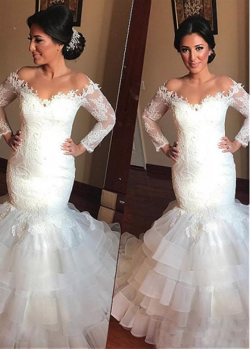 Dazzling Tulle Jewel Neckline Mermaid Wedding Dresses With Lace Appliques & Beadings