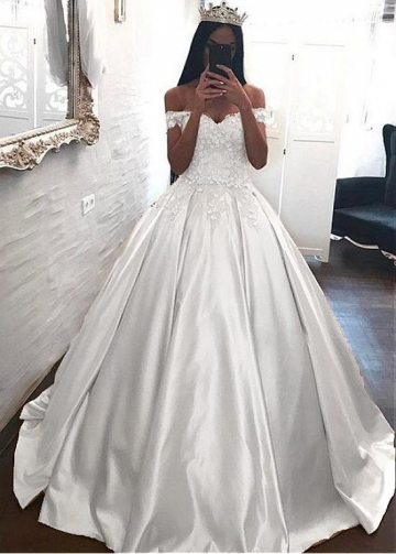 Gorgeous Tulle & Satin Off-the-shoulder Neckline Ball Gown Wedding Dresses With Beaded Lace Appliques & Handmade Flowers