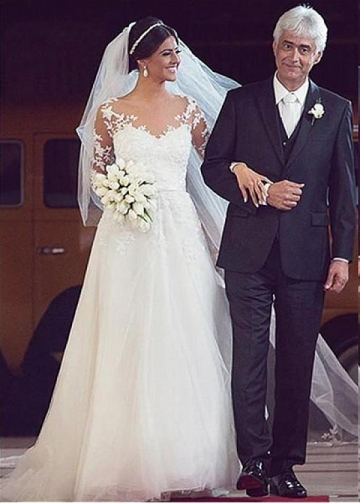 Brilliant Tulle Jewel Neckline A-line Wedding Dresses With Beaded Lace Appliques & Bowknot