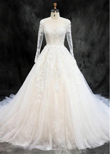 Winsome Tulle Jewel Neckline Ball Gown Wedding Dresses With Beaded Lace Appliques