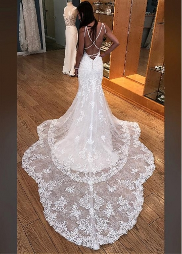 Fashionable Tulle Spaghetti Straps Neckline Mermaid Wedding Dresses With Beaded Lace Appliques