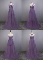 Elegant Tulle Sweetheart Neckline Full-length A-line Convertible Bridesmaid Dress With Pleats