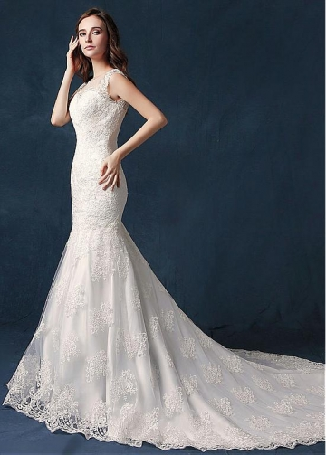 Fantastic Tulle Sheer Jewel Neckline Mermaid Wedding Dress With Lace Appliques & Beadings