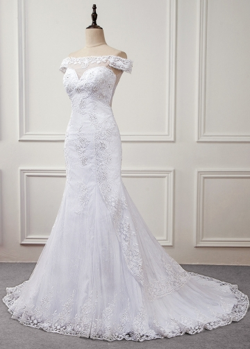 Romantic Tulle & Lace Off-the-shoulder Neckline Mermaid Wedding Dress With Beaded Lace Appliques