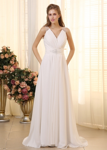 Elegant Chiffon V-neck Neckline A-line Wedding Dresses with Beadings & Rhinestones
