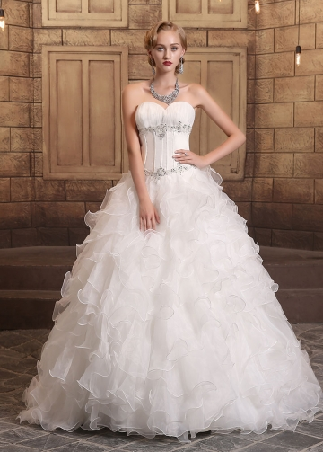 Gorgeous Satin & Organza Sweetheart Neckline Ball Gown Wedding Dresses