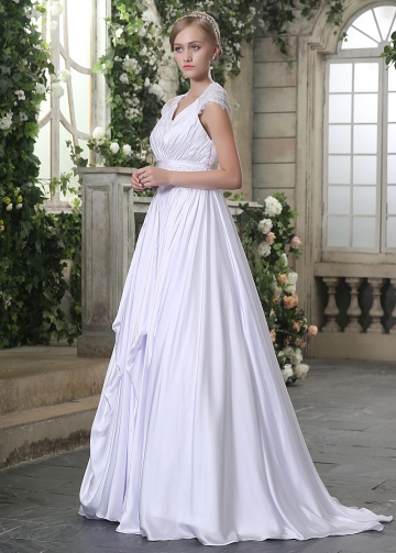Graceful Satin Chiffon V-neck Neckline Lace Appliques A-line Wedding Dresses