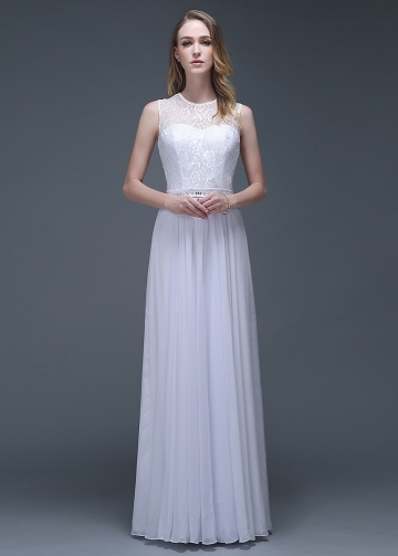 Elegant Chiffon Jewel Neckline A-line Wedding Dresses