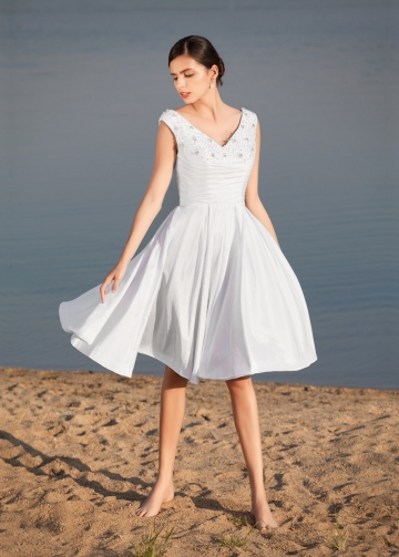 Sweet Taffeta V-neck Neckline Knee-length A-line Wedding Dresses