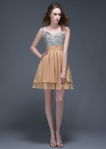 Shining Chiffon Spaghetti Straps Neckline Short A-line Homecoming Dresses
