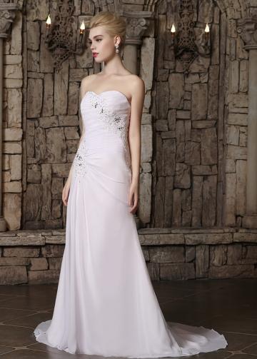 Elegant Chiffon Sweetheart Neckline A-line Wedding Dresses