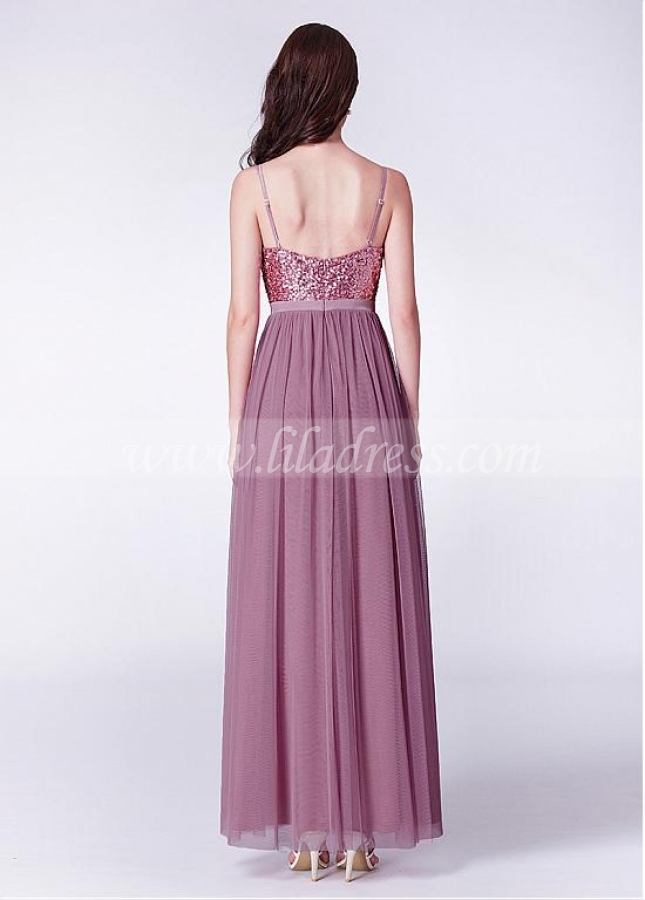Fashionable Sequin Lace & Tulle Spaghetti Straps Neckline Floor-length A-line Bridesmaid Dresses